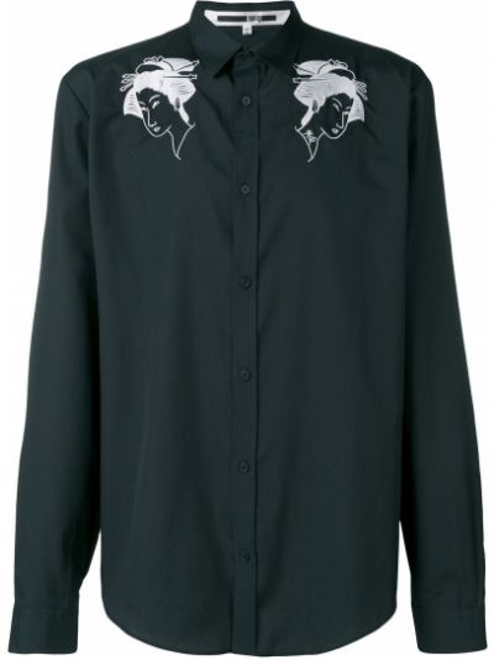 Koszula z wiskozy - czarna Mcq Alexander Mcqueen