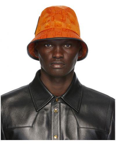 Czarny kapelusz skórzany z siateczką Gucci