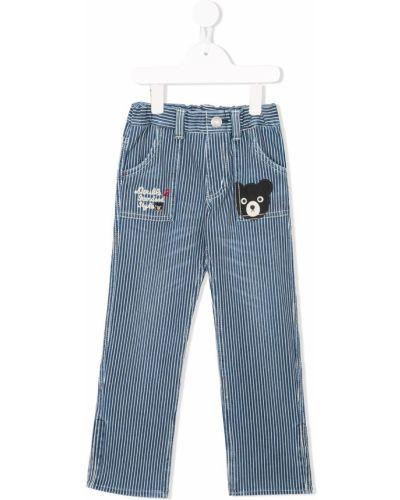 Синие брюки с заплатками Miki House