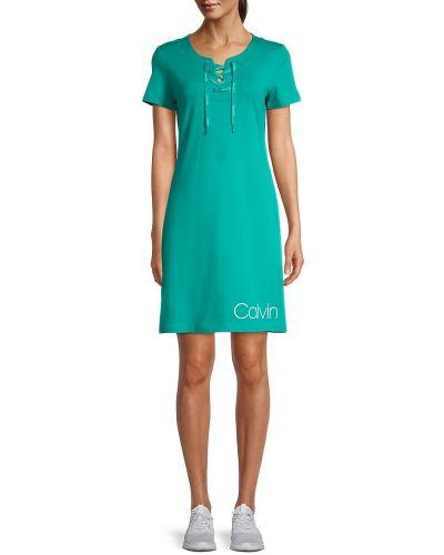 Хлопковое кружевное купальное платье с короткими рукавами Calvin Klein
