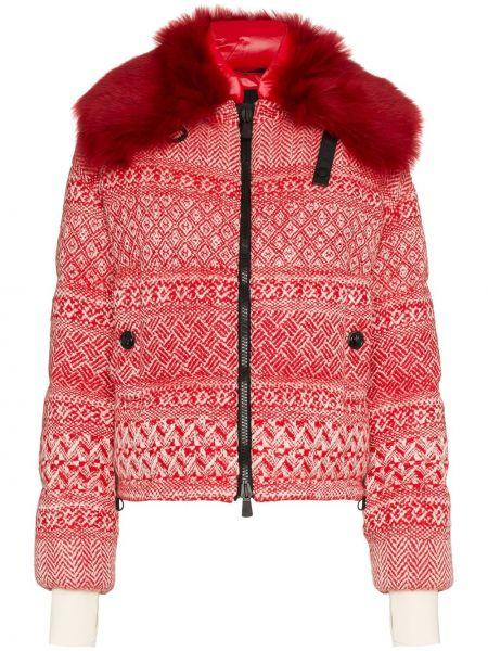 Шерстяная красная куртка на молнии с карманами Moncler Grenoble