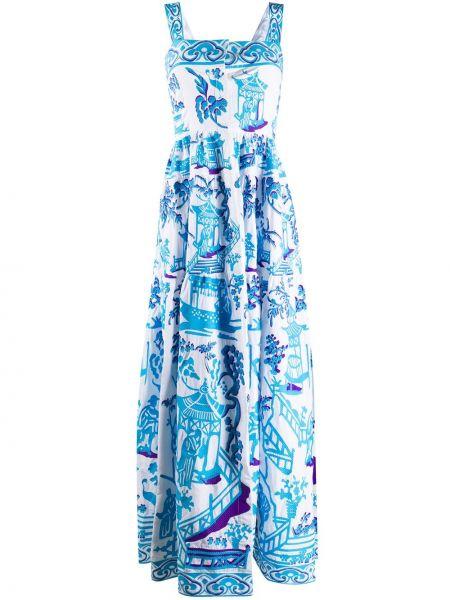 Расклешенное платье с вышивкой на пуговицах без рукавов Yuliya Magdych