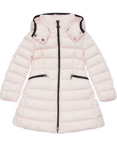 Różowy nylon płaszcz z kapturem na przyciskach Moncler
