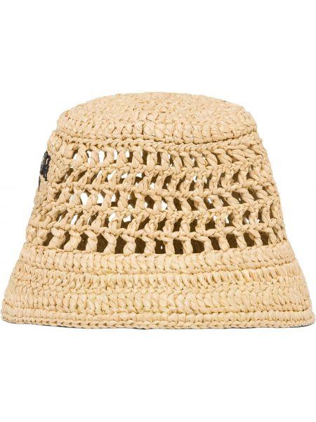 Brązowy kapelusz z haftem Prada