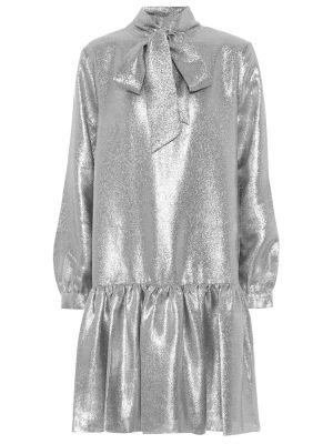 Srebro sukienka metal z ozdobnym wykończeniem Tibi