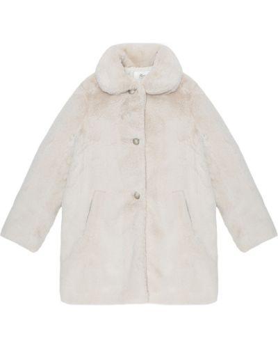 Белое пальто из искусственного меха Bonpoint
