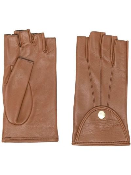 Brązowe rękawiczki bez palców skorzane Manokhi