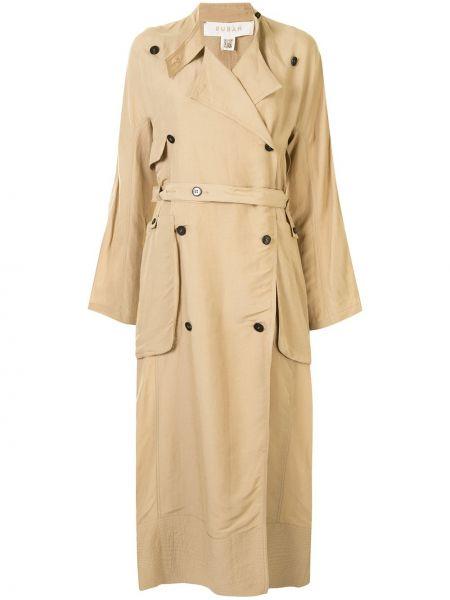 Коричневое прямое пальто с поясом на пуговицах Ruban