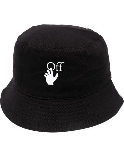 Czarny kapelusz bawełniany z printem Off-white