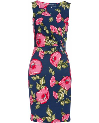 Облегающее платье с драпировкой синее Bonprix