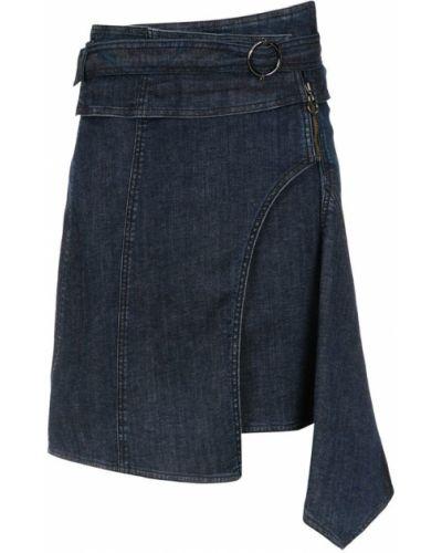 Джинсовая юбка с завышенной талией синяя Tufi Duek