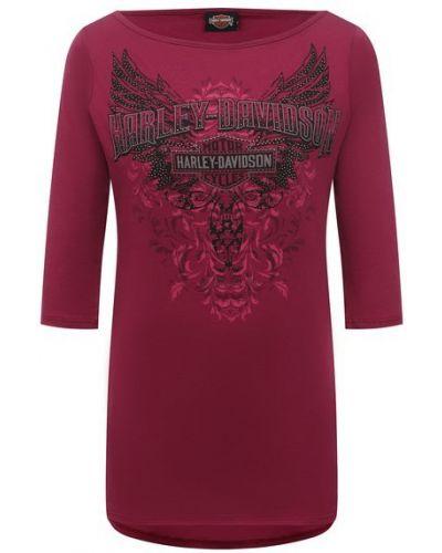 Розовая хлопковая футболка Harley Davidson