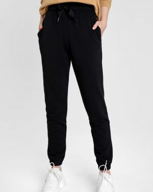 Махровые черные брюки на резинке с карманами с открытым носком Ostin