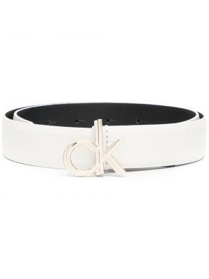 Кожаный ремень - белый Calvin Klein