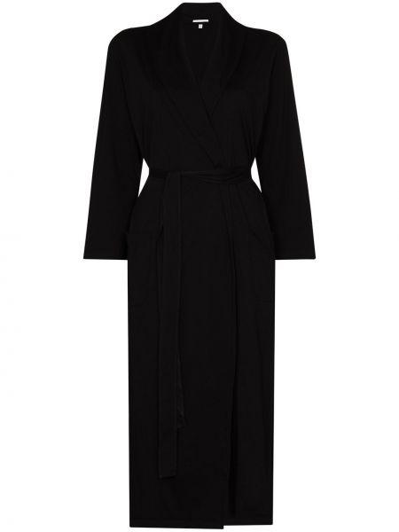 С рукавами кожаный черный халат с запахом Skin