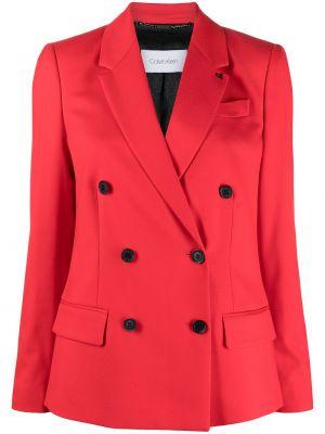 Красный удлиненный пиджак двубортный с карманами Calvin Klein