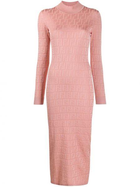 Розовое платье в рубчик эластичное из вискозы Fendi