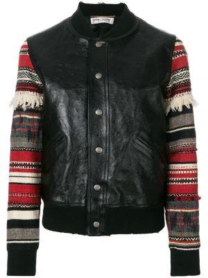 Кожаная куртка черная на пуговицах Saint Laurent