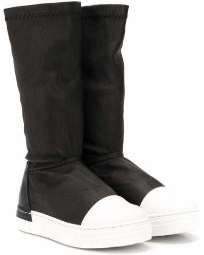 Кожаные белые ботинки круглые с круглым носом Cinzia Araia Kids