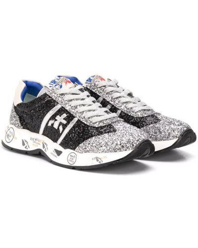 Серебряные кроссовки с заплатками на шнурках круглые Premiata Kids
