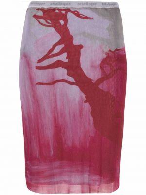 Różowa spódnica midi z wysokim stanem z printem Ottolinger
