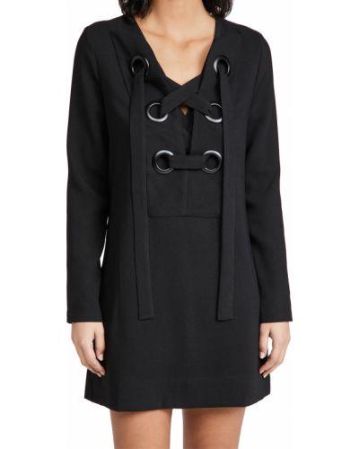 Кружевное черное платье макси с длинными рукавами English Factory
