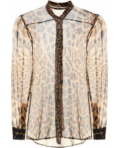 Блузка с леопардовым принтом батник Saint Laurent