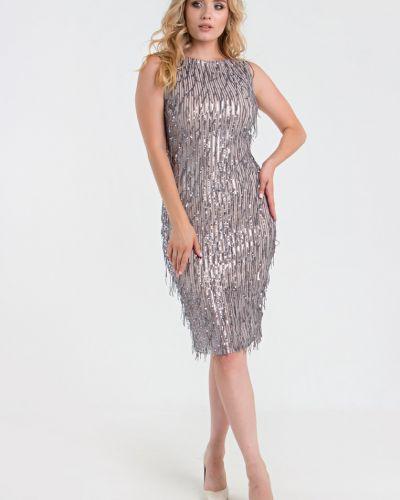 С рукавами вечернее платье с пайетками с подкладкой Filigrana