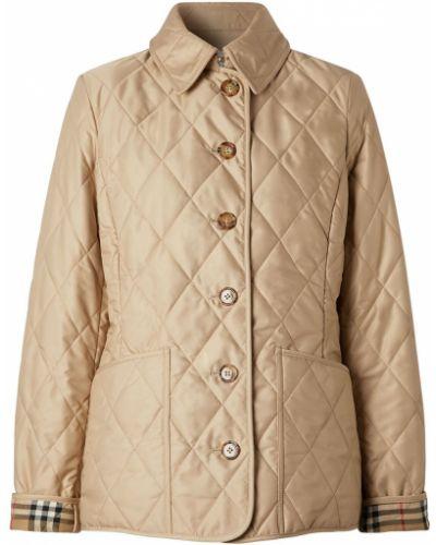Бежевая стеганая короткая куртка Burberry
