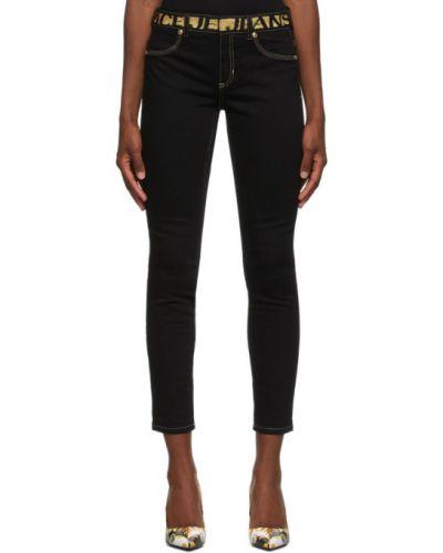 Зауженные черные джинсы-скинни с карманами Versace Jeans Couture