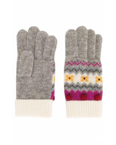 Серые шерстяные перчатки с отворотом в рубчик Familiar