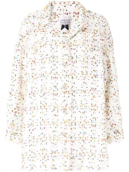 Золотистое белое пальто твидовое на пуговицах Edward Achour Paris