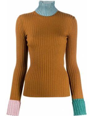 Коричневый с рукавами шерстяной длинный свитер Lanvin