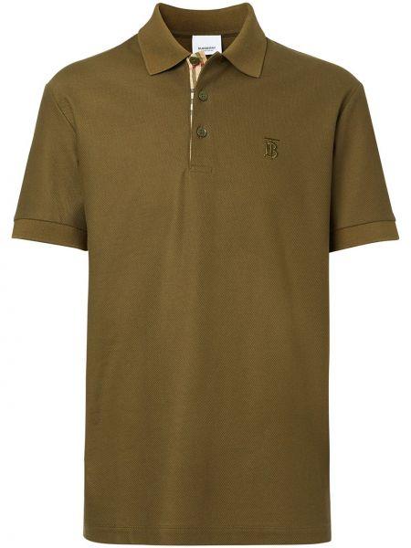 Зеленая рубашка с короткими рукавами с воротником Burberry