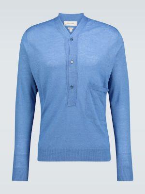 Ażurowy niebieski z kaszmiru sweter Rochas