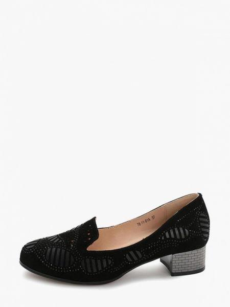 Велюровые черные туфли закрытые Makfine