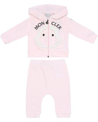 Ватный хлопковый розовый спортивный костюм Moncler Enfant