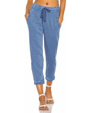 Niebieskie spodnie bawełniane peep toe Yfb Clothing