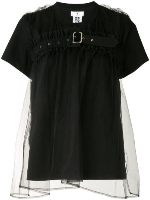 Хлопковая прямая черная футболка с круглым вырезом Comme Des Garçons Noir Kei Ninomiya