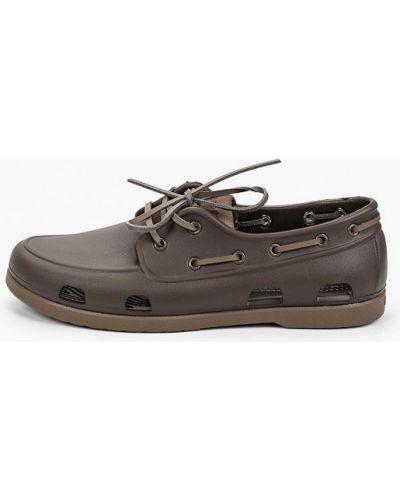 Текстильные коричневые топсайдеры Crocs