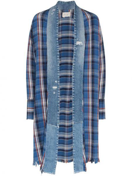 Niebieska koszula jeansowa z długimi rękawami w kratę Greg Lauren