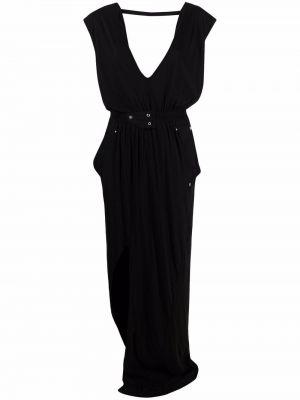 Черное платье без рукавов с декольте Rick Owens Drkshdw