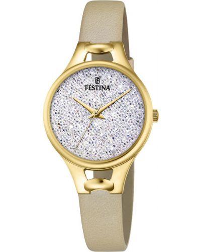 Часы на кожаном ремешке кварцевые водонепроницаемые с камнями Festina