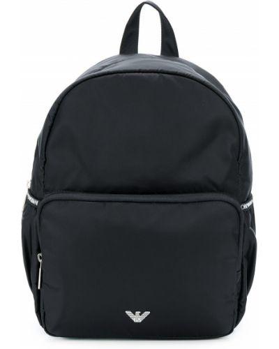 Рюкзак черный с логотипом Emporio Armani Kids