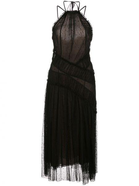 Черное платье миди без рукавов с вырезом с декоративной отделкой Jason Wu Collection