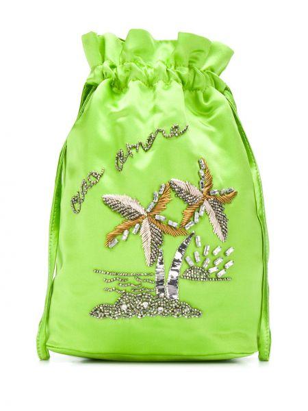 Satynowa zielona torebka mini z haftem Giada Benincasa