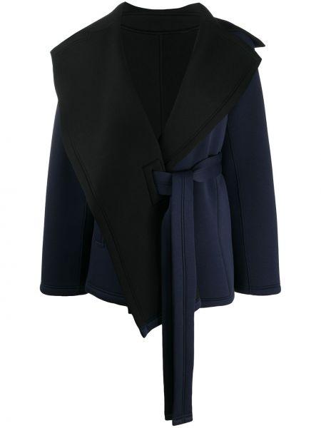 Хлопковая синяя куртка с запахом с поясом Issey Miyake