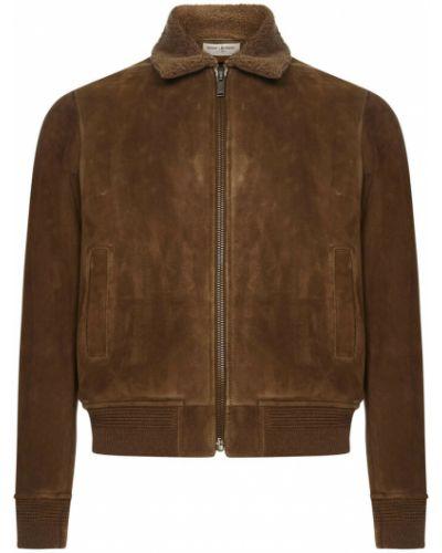 Brązowy płaszcz Saint Laurent