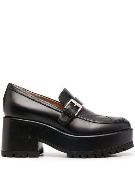 Czarny buty brogsy z prawdziwej skóry z klamrą okrągły Laurence Dacade