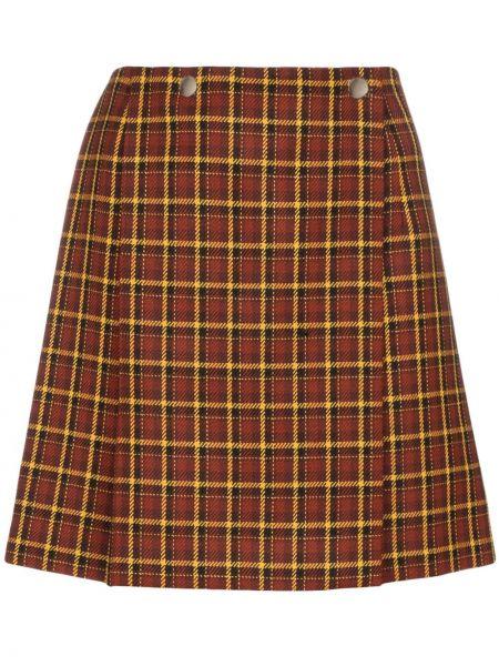 Brązowa spódnica mini kopertowa wełniana Plan C